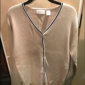 Studio Works Med Womans Sweater Tan  Button Down